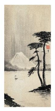 Le mont Fuji et les pins.
