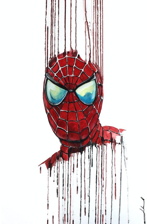 Spiderman desafiando las gotas de gravedad. Mr. B.