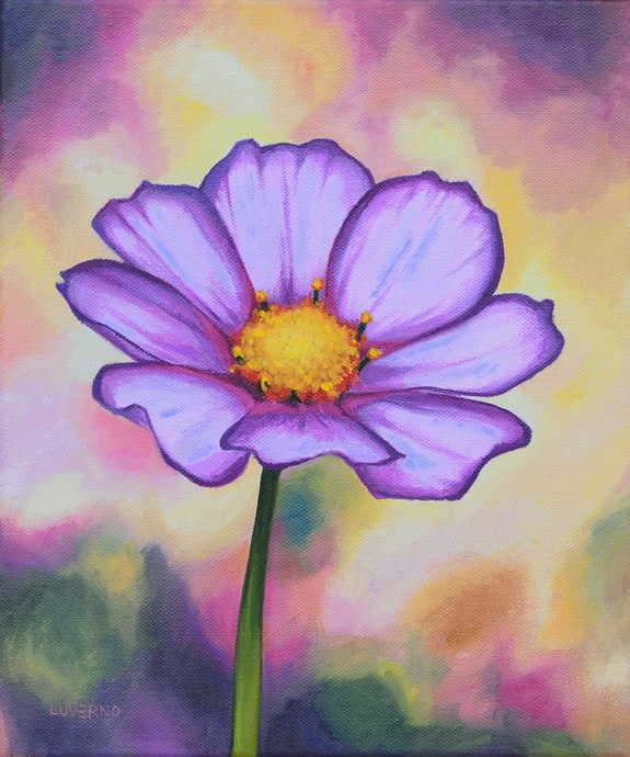'Un rincón de felicidad', pintura de flor de cosmos. Luverno Art