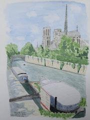 Aquarelle originale Notre-Dame de Paris et sa flèche - signé de l'artiste. Mauguil