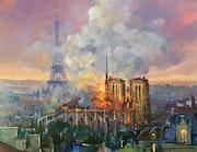 Notre Dame de Paris incendiée version 4. R Ricart