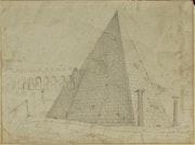 Dessin d'un cénotaphe romain pyramidal, 1826, (pyramine de Caïus Cestius, Rome).. Historien d'art, Archéologue; Chercheur Free-L.