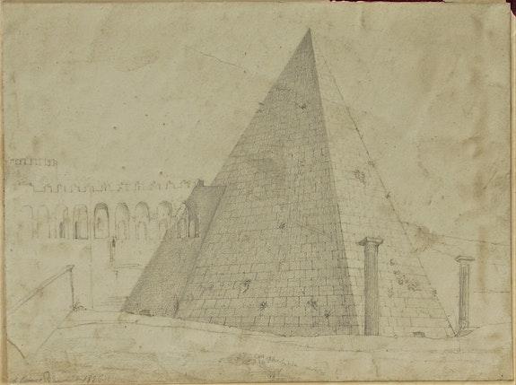 Dessin d'un cénotaphe romain pyramidal, 1826.. Dessin d'un Cénotaphe Romain Pyramidal, 1826. Historien d'art, Archéologue; Chercheur Free-L.