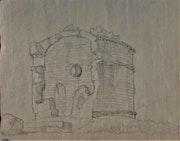 Dessin des Ruines d'un temple romain, XVIII-XIXe S.. Historien d'art, Archéologue; Chercheur Free-L.