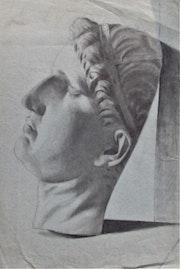 Dessin ancien. Masque mortuaire d'un dignitaire romain.. Historien d'art, Archéologue; Chercheur Free-L.