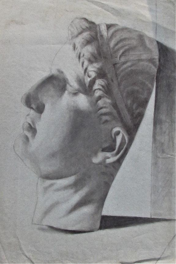 Dessin ancien. Masque mortuaire d'un dignitaire romain.. Dessin Ancien. Masque Mortuaire d'un Dignitaire Romain. Historien d'art, Archéologue; Chercheur Free-L.