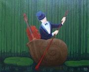 Violonceliste dans une coquille d'escargot. Christian Stalla