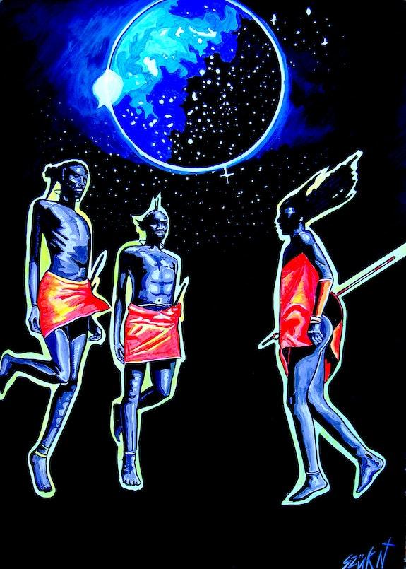 Jump II. ~ Psychedelic tribal painting on paper. Norbert Szük Norbert Szük