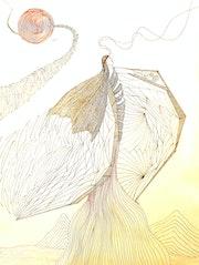 «Engel ist gefallen», 11.2019 - 400x300 mm, Fineliner auf Papier. Vap