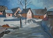 Le hameau de Poingt Ravier sous la neige, valloire (Savoie).