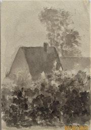 Eugène-Edmond. Duc, 1856-1949 : Chaumières derrière la végétation.. Historien d'art, Archéologue; Chercheur Free-L.