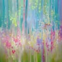 Summer Glimpse is a 30x30 inches very colourful oil on canvas of humming birds a.