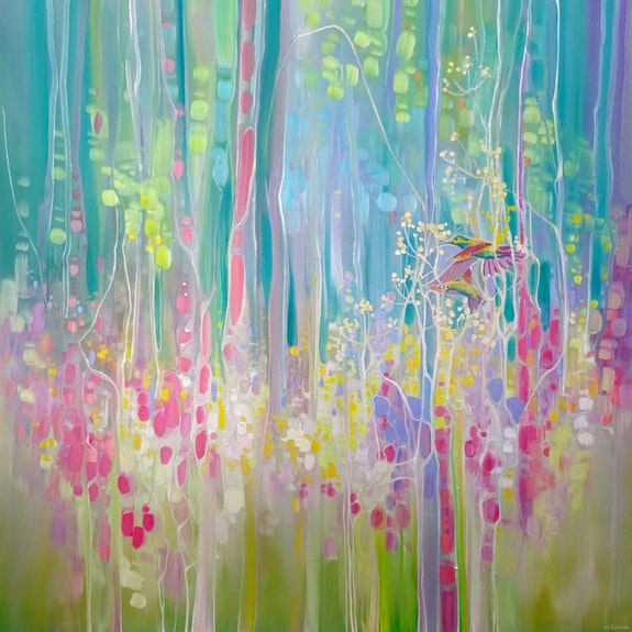 Summer Glimpse is a 30x30 inches very colourful oil on canvas of humming birds a.  Gill Bustamante - Artist
