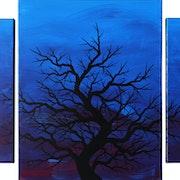 Modern triptych : Dark silhouette of tree.. Jonathan Pradillon