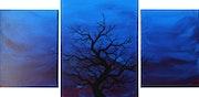 Tríptico moderno : Silueta de árbol oscuro.. Jonathan Pradillon