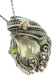 Libyan Desert Glass Wire-Wrapped Pendant with Ethiopian Welo Opals.