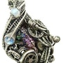 Steampunk Bismuth Crystal Pendant with Rainbow Moonstone. Heather Jordan Jewelry