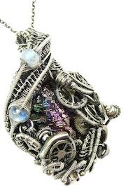 Steampunk Bismuth Crystal Pendant with Rainbow Moonstone. Heather Jordan Jewelry