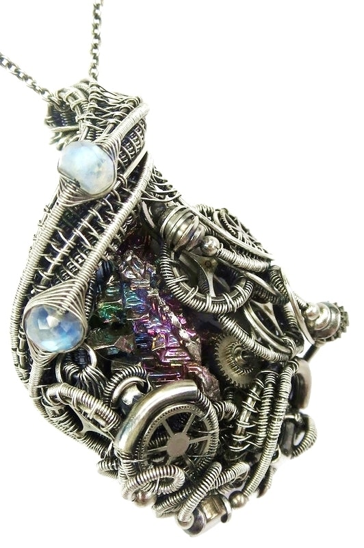 Steampunk Bismuth Crystal Pendant with Rainbow Moonstone. Heather Jordan Heather Jordan Jewelry