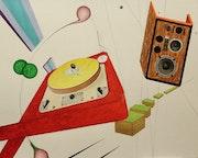 Muzik… (41Cm X 33cm acrylique sur papier 290g/cm2). Dany Viaud