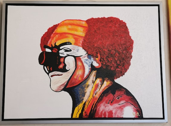 Clown in Acryl. Acrylwolle