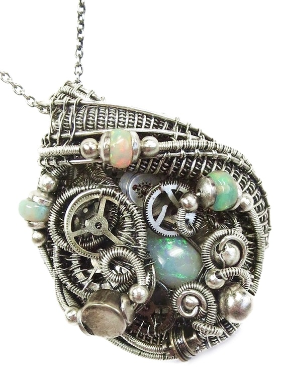 Australian Opal Steampunk Pendant with Ethiopian Welo Opals and Upcycled Watch p. Heather Jordan Heather Jordan Jewelry