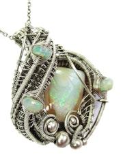 Australian Queensland Opal Wire-Wrapped Pendant with Ethiopian Welo Opals. Heather Jordan Jewelry
