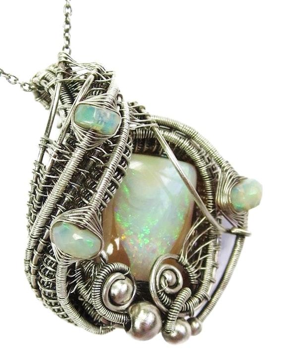 Australian Queensland Opal Wire-Wrapped Pendant with Ethiopian Welo Opals. Heather Jordan Heather Jordan Jewelry
