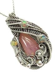 Pink Andean Opal Pendant with Ethiopian Welo Opals. Heather Jordan Jewelry