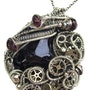 Black Tourmaline Steampunk Pendant with Rhodolite Pendant in Sterling Silver. Heather Jordan Jewelry
