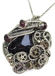 Black Tourmaline Steampunk Pendant with Rhodolite Pendant in Sterling Silver. Heather Jordan Jewelry