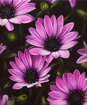 'The muses of the garden', purple african daisies oil painting.