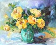 El ramo de rosas amarillas.