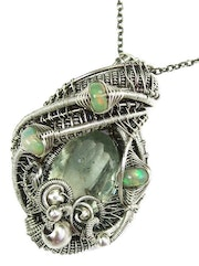 Aquamarine Wire-Wrapped Pendant with Ethiopian Welo Opals.