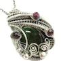 Nephrite Jade Wire-Wrapped Pendant with Rhodolite Garnet. Heather Jordan Jewelry