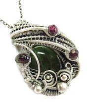 Nephrite Jade Wire-Wrapped Pendant with Rhodolite Garnet.