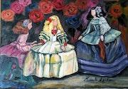 Meninas sobre fondo de rosas. Manuela Carmona