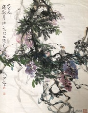 Au 53 - Purple Clouds - Original Asian Art Ink Painting On The Rice Paper. Zhongwu 仲吾