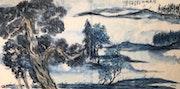 Au 54 - Poplars Relaxing In Spring - Original Asian Art Ink Painting On The Rice. Zhongwu 仲吾