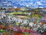 Paysage aux cerisiers. Van Mor