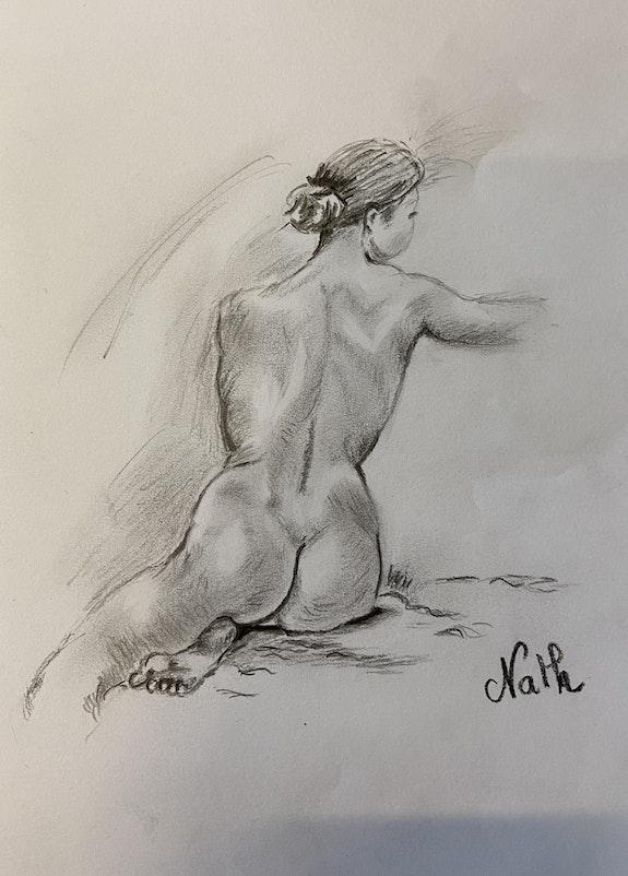Femme assise nue.  Nathalie