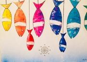 Sardines accrochées de toutes les couleurs.