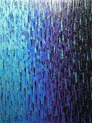 Tableau abstrait : Fondu bleu violet iridescent..