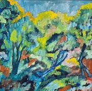Toile peinture tableau / Au loin les mimosas. Mireille Puech