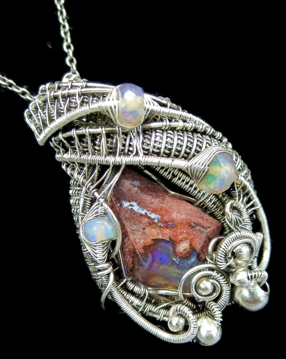 Mexican Cantera Opal Pendant with Ethiopian Welo Opals. Heather Jordan Heather Jordan Jewelry