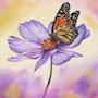 'De flor en flor', pintura al óleo de una mariposa monarca en un cosmos morado.