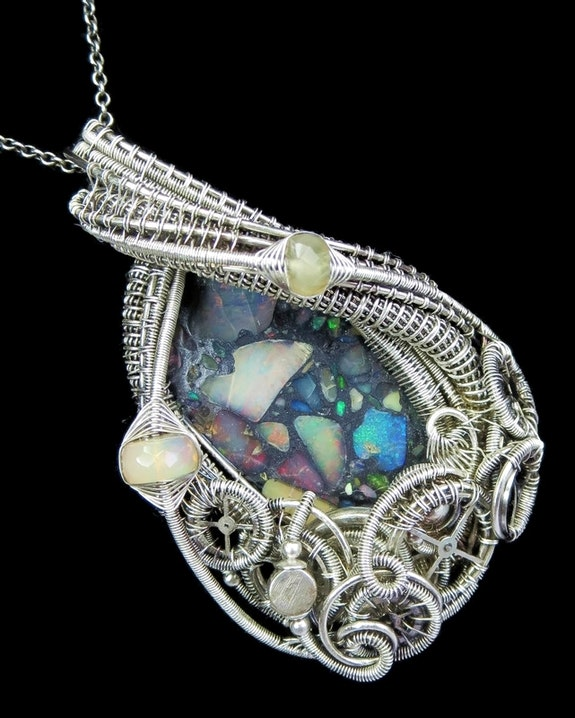 Ethiopian Opal Mosaic Steampunk Pendant with Welo Opals and Upcycled Watch Parts. Heather Jordan Heather Jordan Jewelry