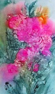 Les fleurs roses aquarelle de confinement n°12.