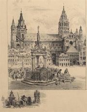 Albert (Jules Alexis). Robida (1848 - 1926) : La Cathédrale de Mayence.. Historien d'art, Archéologue; Chercheur Free-L.