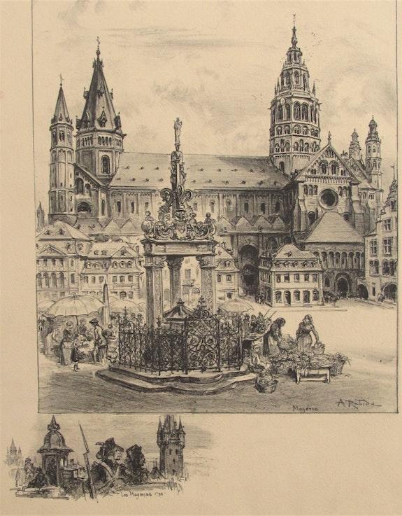 Albert (Jules Alexis). Robida (1848 - 1926) : La Cathédrale de Mayence.. Albert (Jules Alexis) Robida (1848 - 1926) : La Cathédrale De Mayence. Historien d'art, Archéologue; Chercheur Free-L.